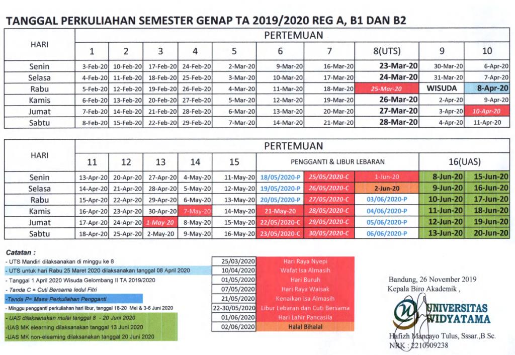 Jadwal Perkuliahan Genap 2019/2020