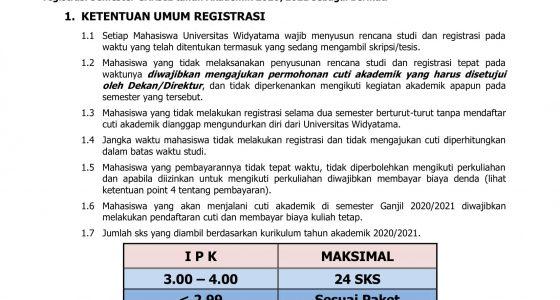 Pengumuman Registrasi Semester Ganjil Tahun Akademik 2020-2021